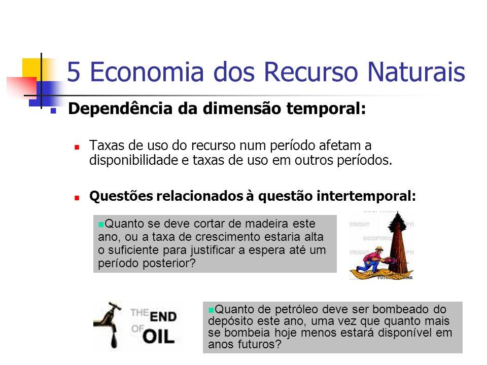 5 Economia dos Recurso Naturais Dependência da dimensão temporal: Taxas de uso do recurso num período afetam a disponibilidade e taxas de uso em outro