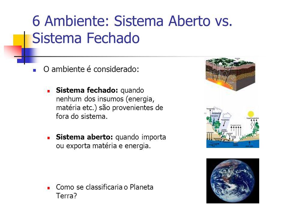 6 Ambiente: Sistema Aberto vs. Sistema Fechado O ambiente é considerado: Sistema fechado: quando nenhum dos insumos (energia, matéria etc.) são proven