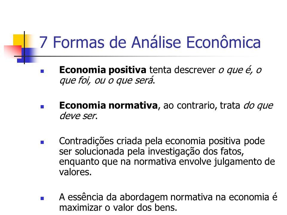 7 Formas de Análise Econômica Economia positiva tenta descrever o que é, o que foi, ou o que será. Economia normativa, ao contrario, trata do que deve