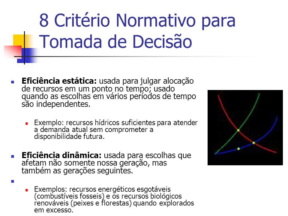 8 Critério Normativo para Tomada de Decisão Eficiência estática: usada para julgar alocação de recursos em um ponto no tempo; usado quando as escolhas