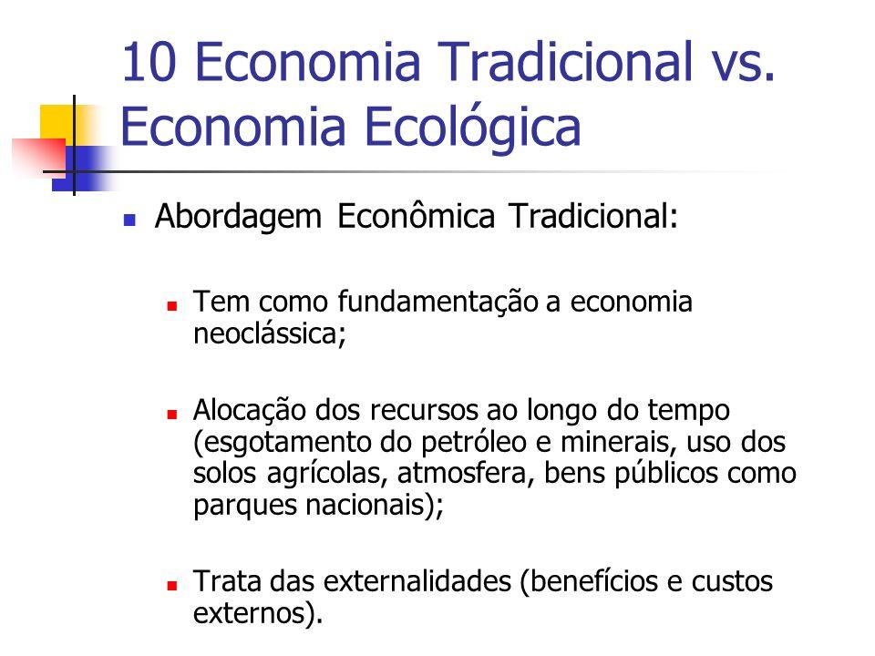 10 Economia Tradicional vs. Economia Ecológica Abordagem Econômica Tradicional: Tem como fundamentação a economia neoclássica; Alocação dos recursos a