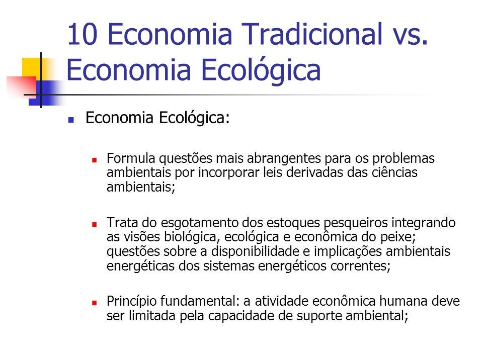10 Economia Tradicional vs. Economia Ecológica Economia Ecológica: Formula questões mais abrangentes para os problemas ambientais por incorporar leis