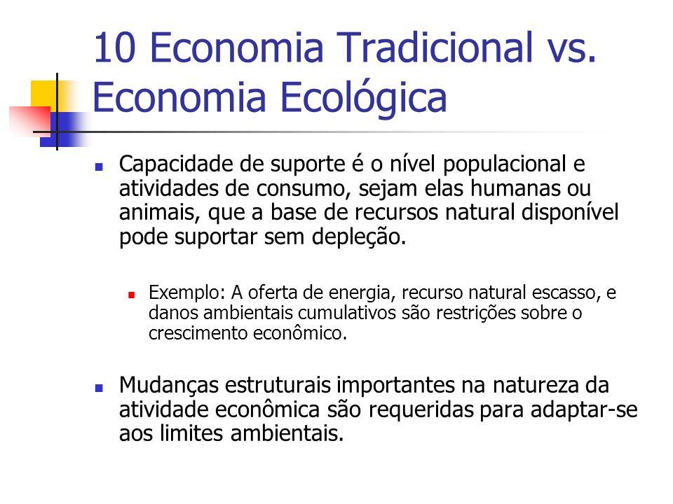 10 Economia Tradicional vs. Economia Ecológica Capacidade de suporte é o nível populacional e atividades de consumo, sejam elas humanas ou animais, qu