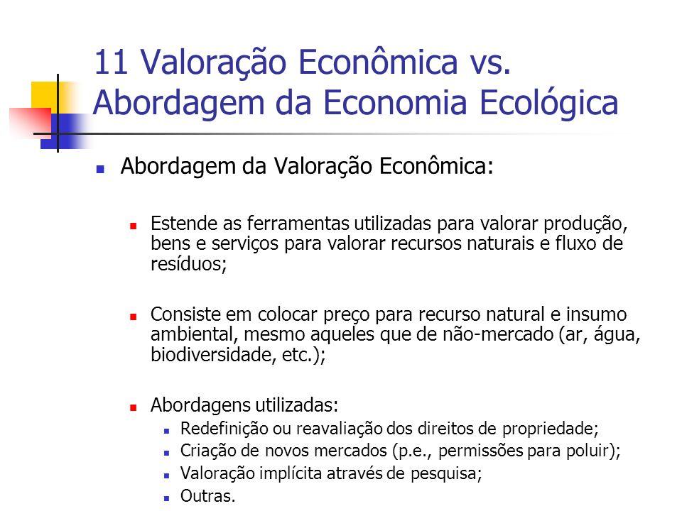 11 Valoração Econômica vs. Abordagem da Economia Ecológica Abordagem da Valoração Econômica: Estende as ferramentas utilizadas para valorar produção,