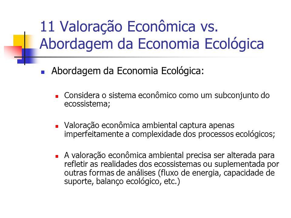 11 Valoração Econômica vs. Abordagem da Economia Ecológica Abordagem da Economia Ecológica: Considera o sistema econômico como um subconjunto do ecoss