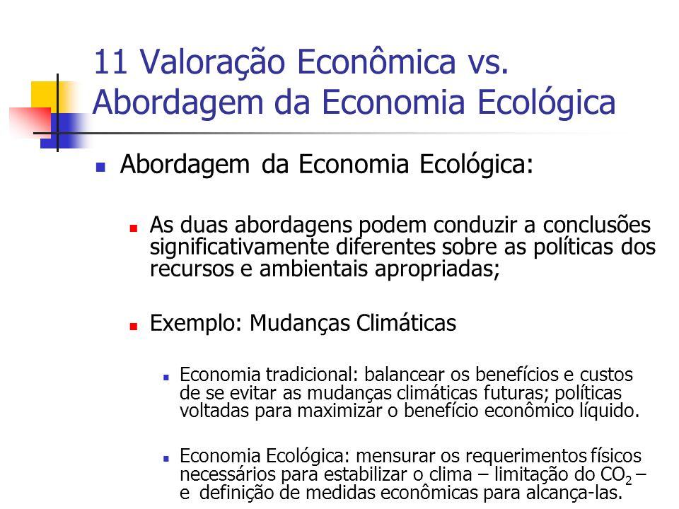 11 Valoração Econômica vs. Abordagem da Economia Ecológica Abordagem da Economia Ecológica: As duas abordagens podem conduzir a conclusões significati