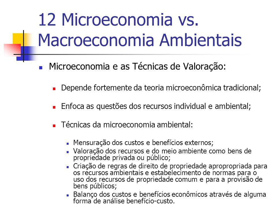 12 Microeconomia vs. Macroeconomia Ambientais Microeconomia e as Técnicas de Valoração: Depende fortemente da teoria microeconômica tradicional; Enfoc