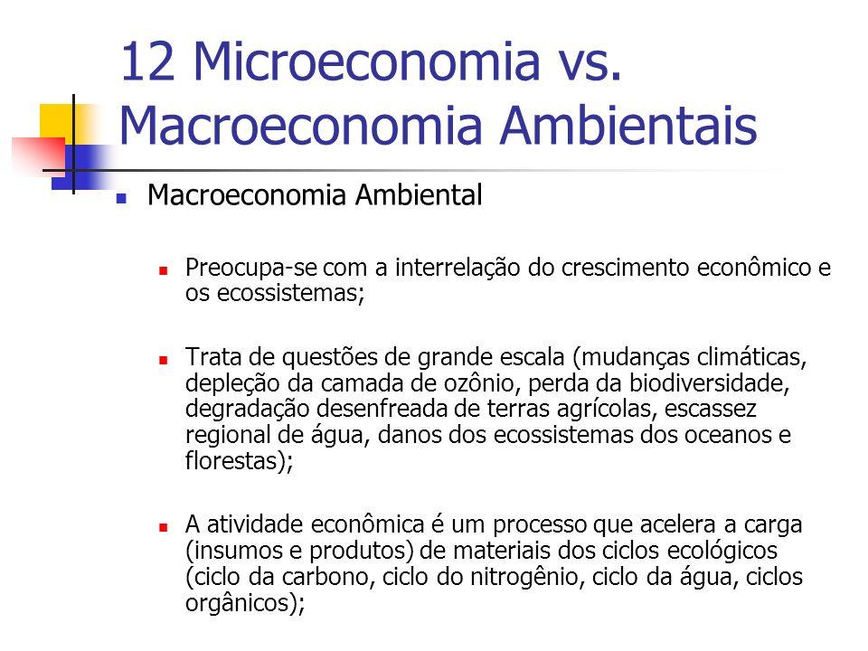 12 Microeconomia vs. Macroeconomia Ambientais Macroeconomia Ambiental Preocupa-se com a interrelação do crescimento econômico e os ecossistemas; Trata