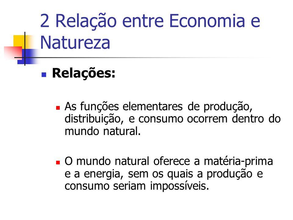 2 Relação entre Economia e Natureza Relações: As funções elementares de produção, distribuição, e consumo ocorrem dentro do mundo natural. O mundo nat