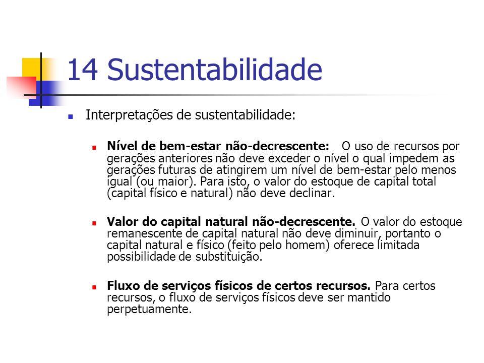 14 Sustentabilidade Interpretações de sustentabilidade: Nível de bem-estar não-decrescente: O uso de recursos por gerações anteriores não deve exceder