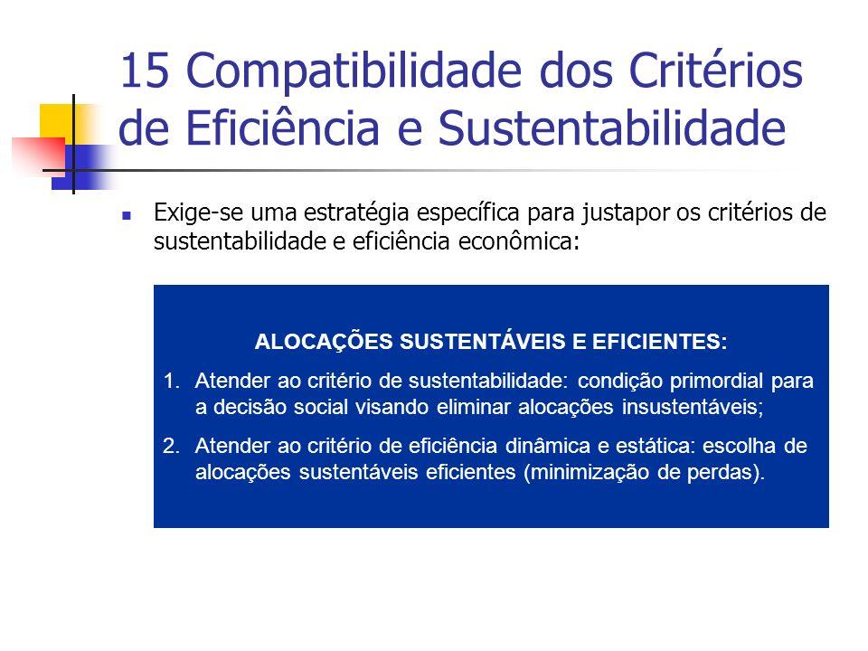 15 Compatibilidade dos Critérios de Eficiência e Sustentabilidade Exige-se uma estratégia específica para justapor os critérios de sustentabilidade e