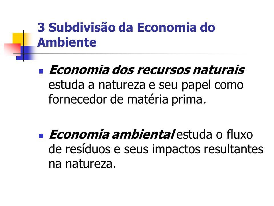 3 Subdivisão da Economia do Ambiente Economia dos recursos naturais estuda a natureza e seu papel como fornecedor de matéria prima. Economia ambiental