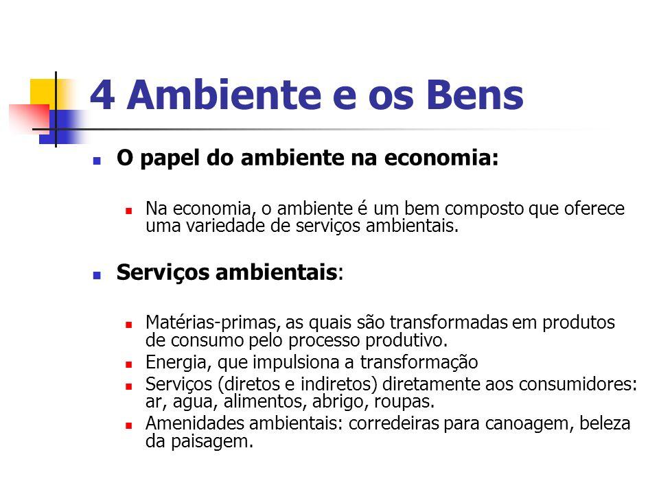 4 Ambiente e os Bens O papel do ambiente na economia: Na economia, o ambiente é um bem composto que oferece uma variedade de serviços ambientais. Serv