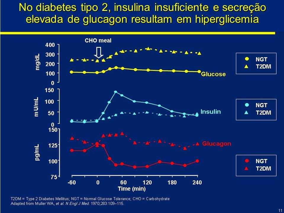 No diabetes tipo 2, insulina insuficiente e secreção elevada de glucagon resultam em hiperglicemia