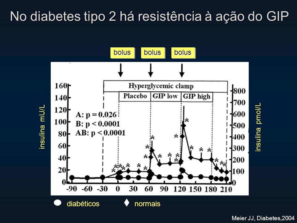 Meier JJ, Diabetes,2004 insulina mU/L insulina pmol/L bolusbolusbolusbolusbolusbolus No diabetes tipo 2 há resistência à ação do GIP diabéticos normais