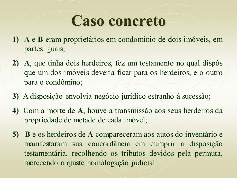 Caso concreto 1)A e B eram proprietários em condomínio de dois imóveis, em partes iguais; 2)A, que tinha dois herdeiros, fez um testamento no qual dis
