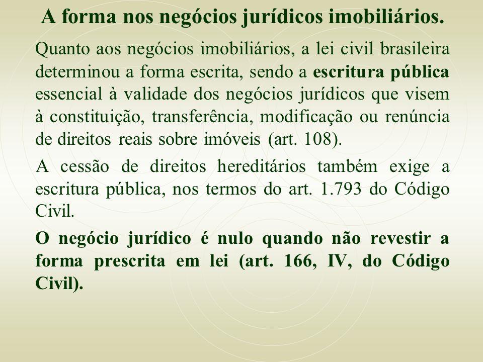 A forma nos negócios jurídicos imobiliários. Quanto aos negócios imobiliários, a lei civil brasileira determinou a forma escrita, sendo a escritura pú