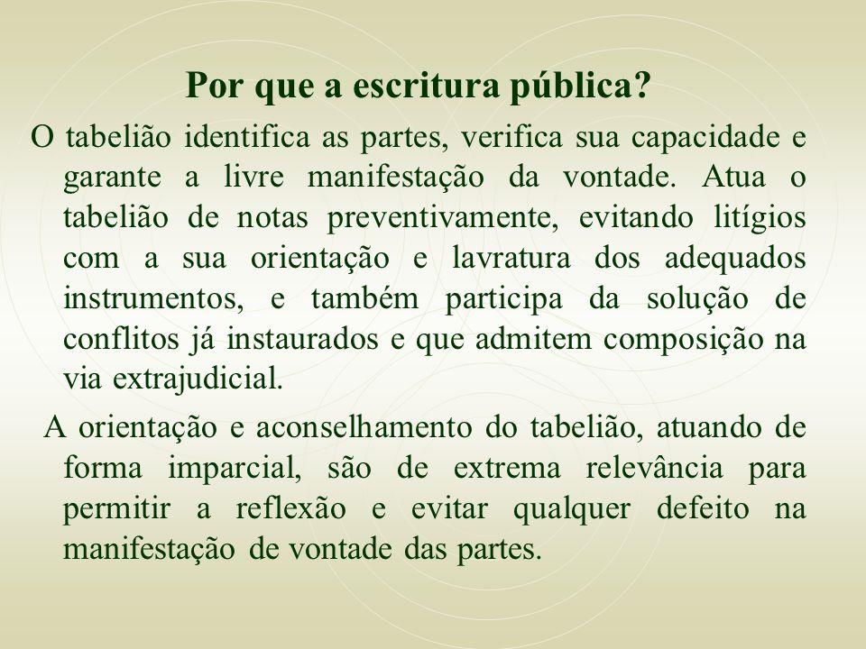 Por que a escritura pública? O tabelião identifica as partes, verifica sua capacidade e garante a livre manifestação da vontade. Atua o tabelião de no