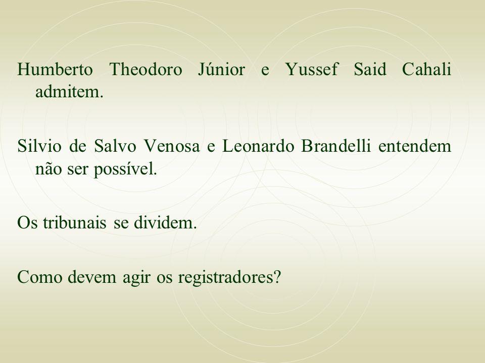 Humberto Theodoro Júnior e Yussef Said Cahali admitem. Silvio de Salvo Venosa e Leonardo Brandelli entendem não ser possível. Os tribunais se dividem.