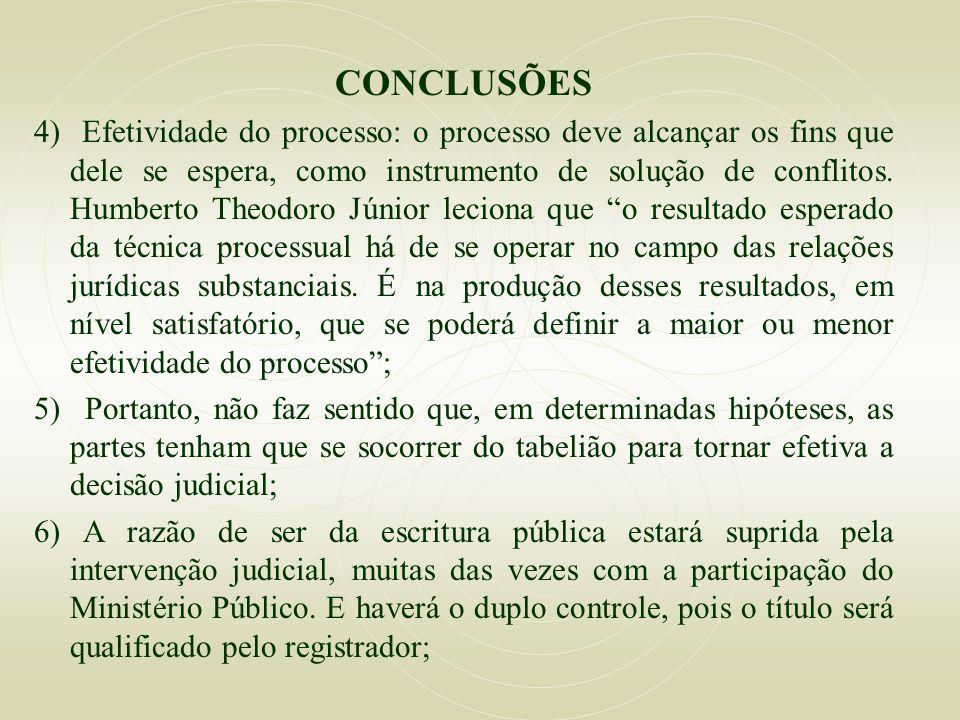 CONCLUSÕES 4) Efetividade do processo: o processo deve alcançar os fins que dele se espera, como instrumento de solução de conflitos. Humberto Theodor