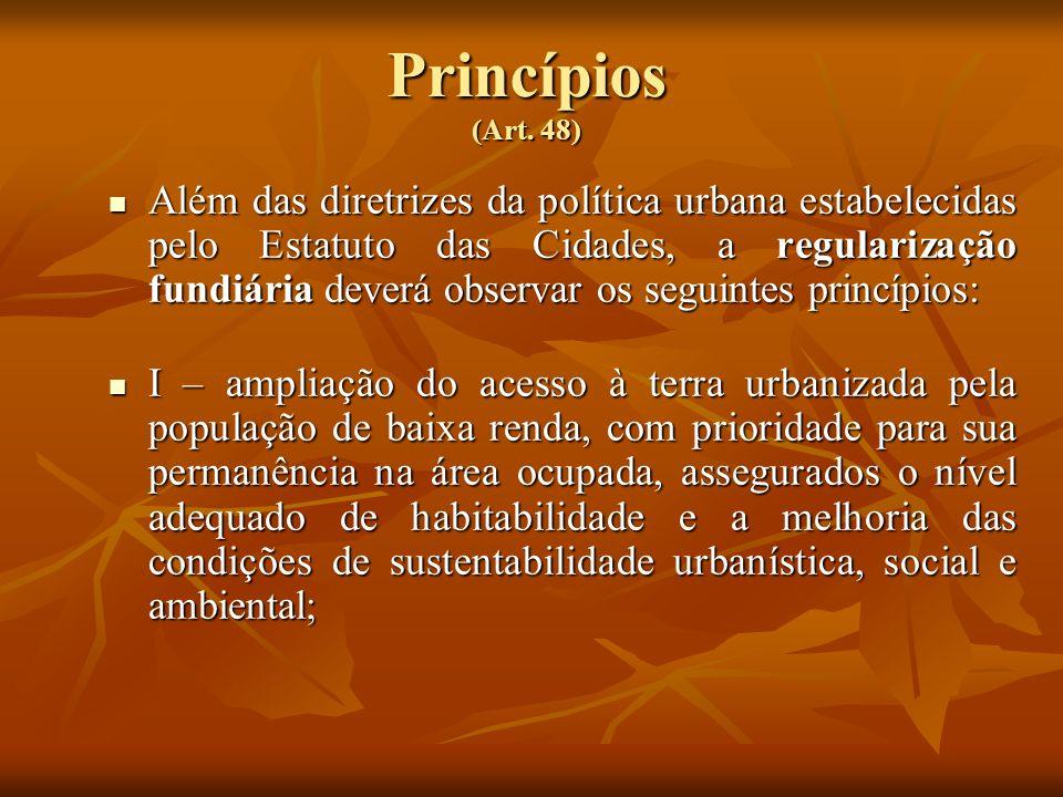 Princípios (Art. 48) Além das diretrizes da política urbana estabelecidas pelo Estatuto das Cidades, a regularização fundiária deverá observar os segu