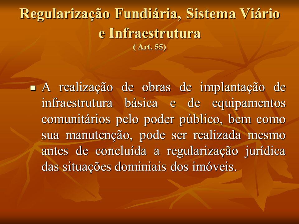 Regularização Fundiária, Sistema Viário e Infraestrutura ( Art. 55) A realização de obras de implantação de infraestrutura básica e de equipamentos co