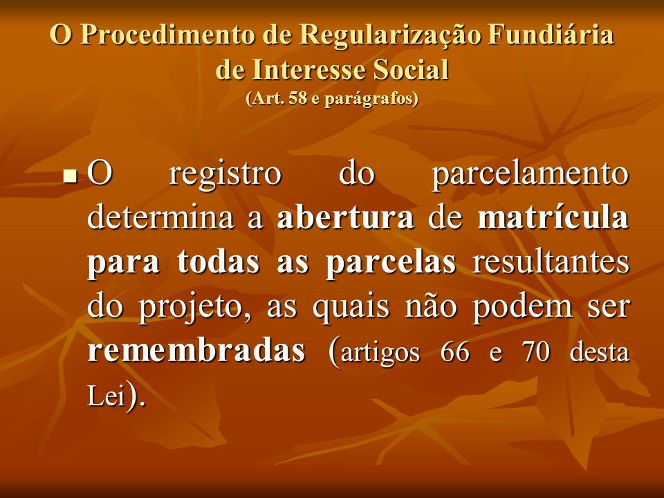 O Procedimento de Regularização Fundiária de Interesse Social (Art. 58 e parágrafos) O registro do parcelamento determina a abertura de matrícula para