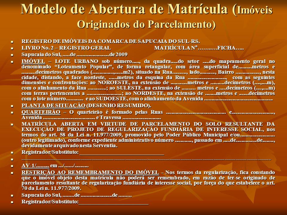 Modelo de Abertura de Matrícula ( Imóveis Originados do Parcelamento) REGISTRO DE IMÓVEIS DA COMARCA DE SAPUCAIA DO SUL-RS. REGISTRO DE IMÓVEIS DA COM