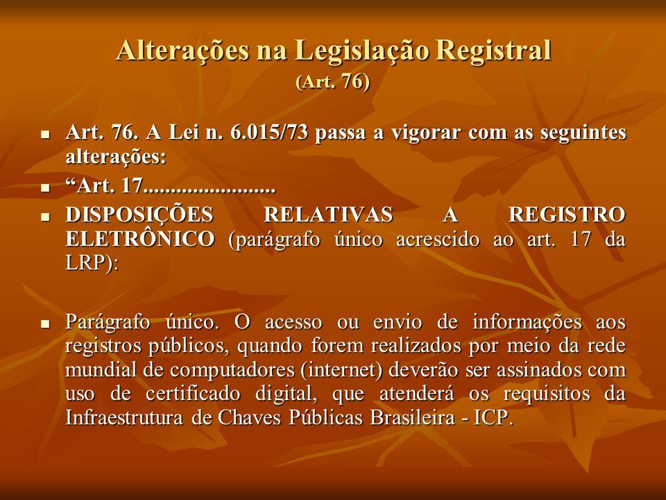 Alterações na Legislação Registral (Art. 76) Art. 76. A Lei n. 6.015/73 passa a vigorar com as seguintes alterações: Art. 76. A Lei n. 6.015/73 passa