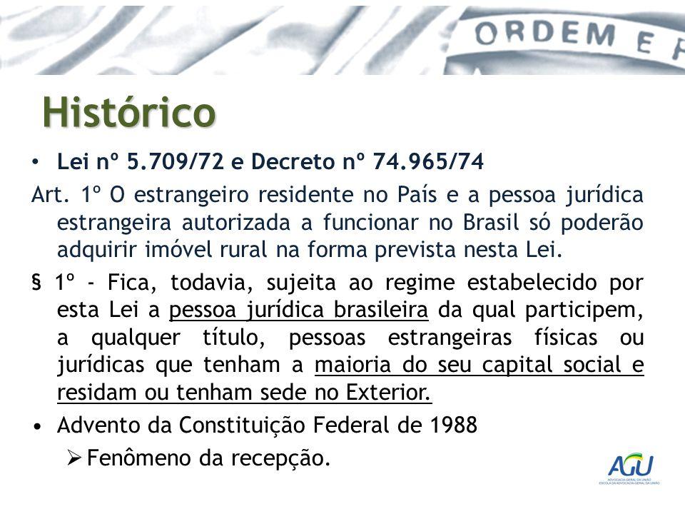 Histórico Lei nº 5.709/72 e Decreto nº 74.965/74 Art. 1º O estrangeiro residente no País e a pessoa jurídica estrangeira autorizada a funcionar no Bra