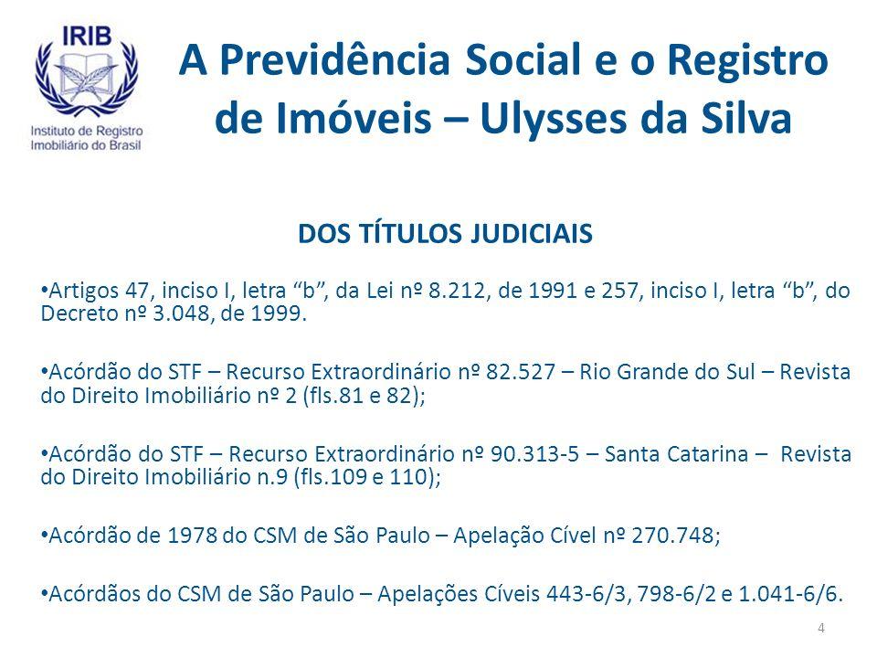 A Previdência Social e o Registro de Imóveis – Ulysses da Silva DA ALIENAÇÃO FIDUCIÁRIA Artigos 17 e 26 da Lei nº 9.514, de 1997; 47 da Lei nº 8.212, de 1991, e 257 do Decreto nº 3.048, de 1999.