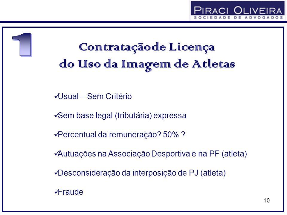 10 Usual – Sem Critério Sem base legal (tributária) expressa Percentual da remuneração? 50% ? Autuações na Associação Desportiva e na PF (atleta) Desc