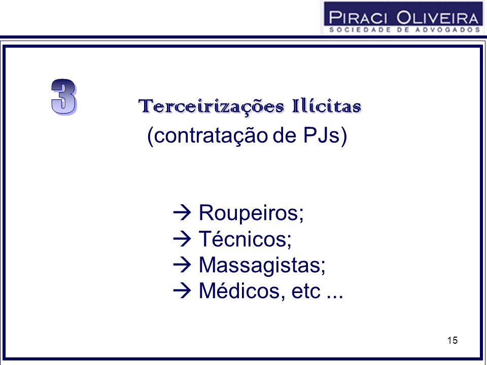 15 TerceirizaçõesIlícitas Terceirizações Ilícitas (contratação de PJs) Roupeiros; Técnicos; Massagistas; Médicos, etc...