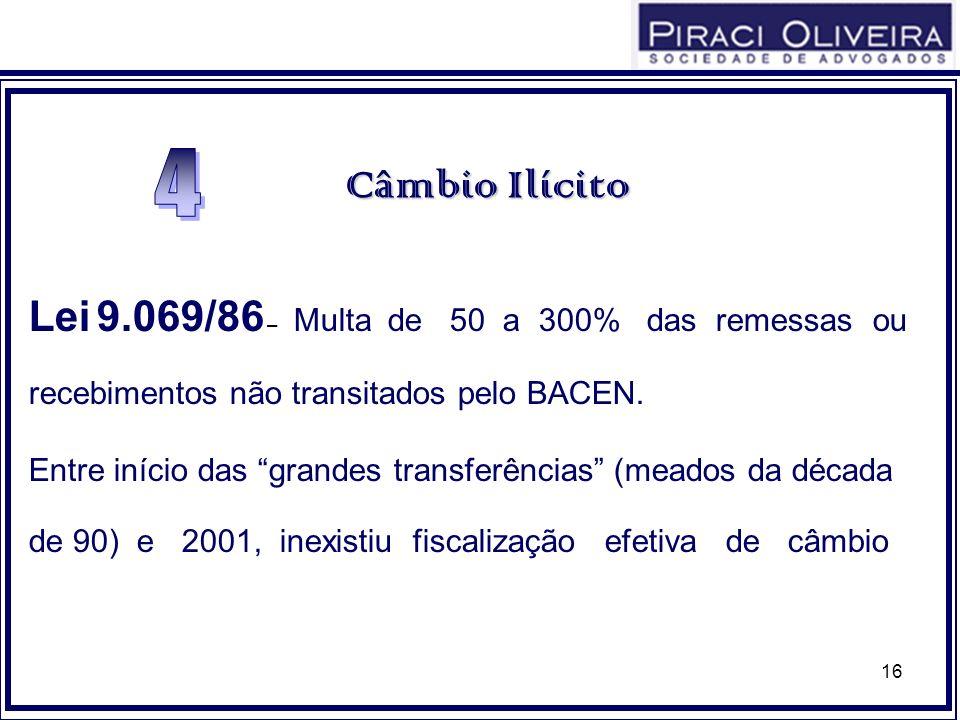 16 CâmbioIlícito Câmbio Ilícito Lei 9.069/86 – Multa de 50 a 300% das remessas ou recebimentos não transitados pelo BACEN. Entre início das grandes tr