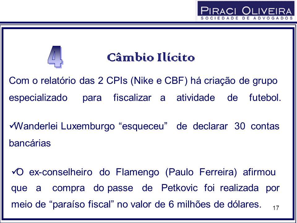 17 CâmbioIlícito Câmbio Ilícito O ex-conselheiro do Flamengo (Paulo Ferreira) afirmou que a compra do passe de Petkovic foi realizada por meio de para