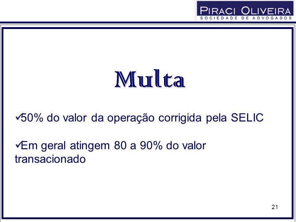 21 Multa 50% do valor da operação corrigida pela SELIC Em geral atingem 80 a 90% do valor transacionado