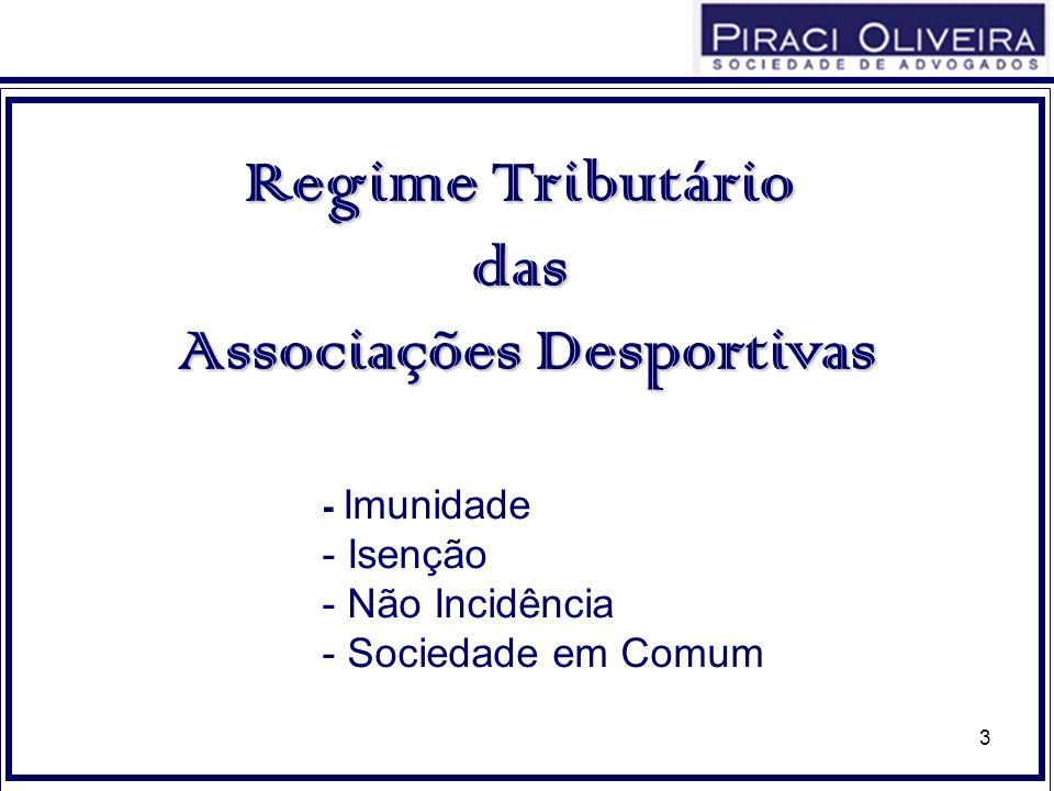3 Regime Tributário das Associações Desportivas - Imunidade - Isenção - Não Incidência - Sociedade em Comum
