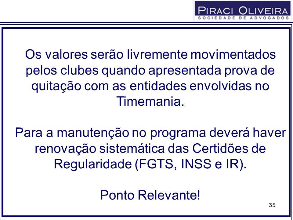 35 Os valores serão livremente movimentados pelos clubes quando apresentada prova de quitação com as entidades envolvidas no Timemania. Para a manuten