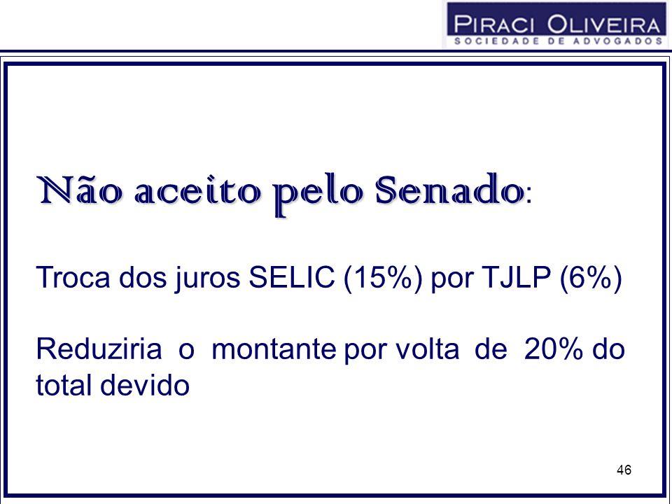 46 Não aceito pelo Senado Não aceito pelo Senado : Troca dos juros SELIC (15%) por TJLP (6%) Reduziria o montante por volta de 20% do total devido