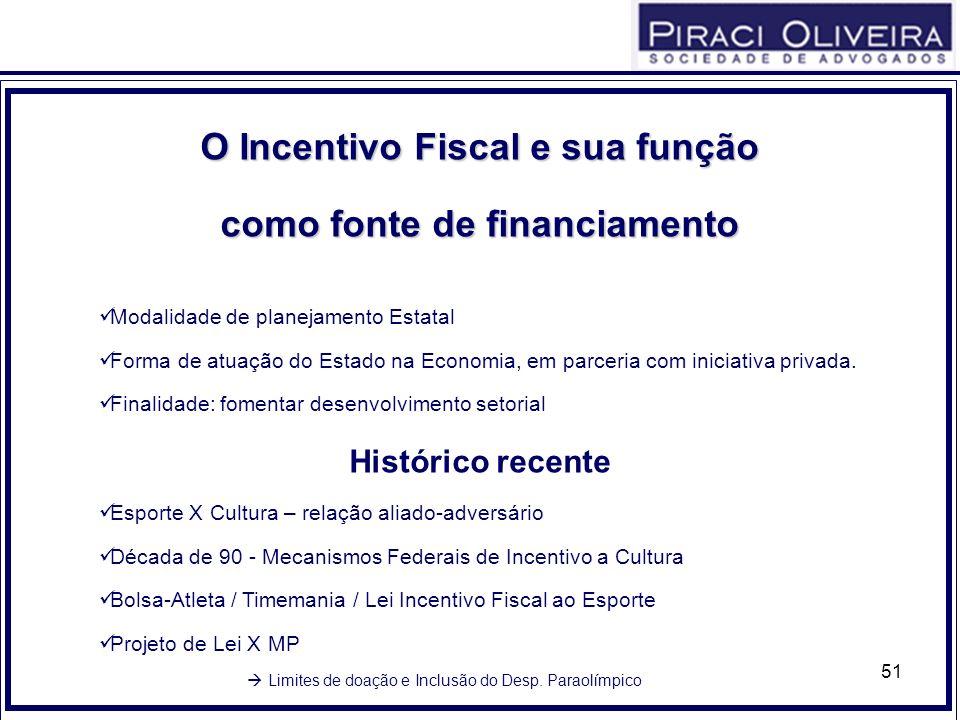 51 OIncentivoFiscalesuafunção O Incentivo Fiscal e sua função comofontedefinanciamento como fonte de financiamento Modalidade de planejamento Estatal