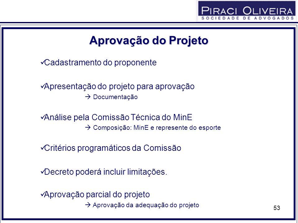 53 Cadastramento do proponente Apresentação do projeto para aprovação Documentação Análise pela Comissão Técnica do MinE Composição: MinE e represente