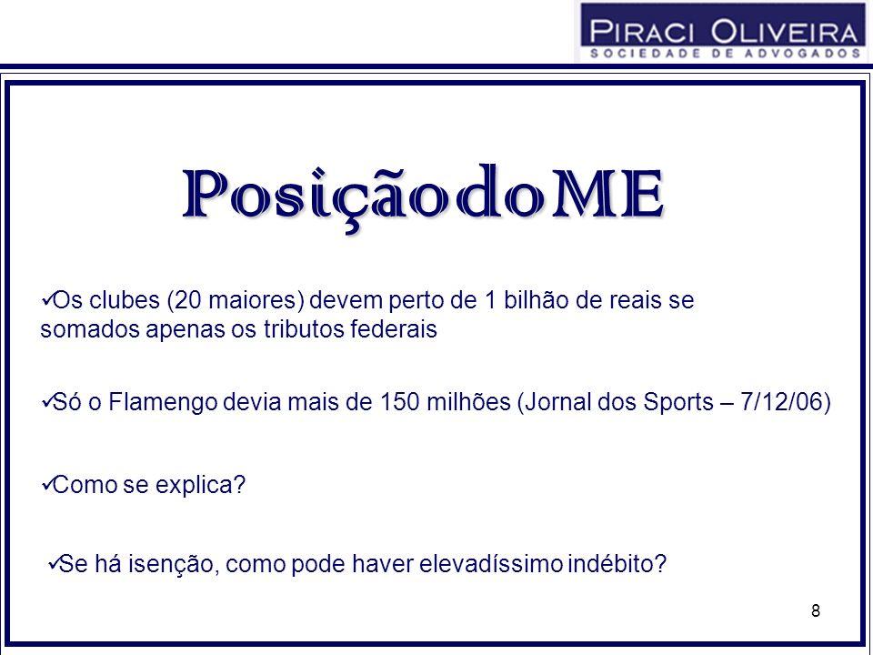 8 PosiçãodoME Posição do ME Só o Flamengo devia mais de 150 milhões (Jornal dos Sports – 7/12/06) Como se explica? Se há isenção, como pode haver elev