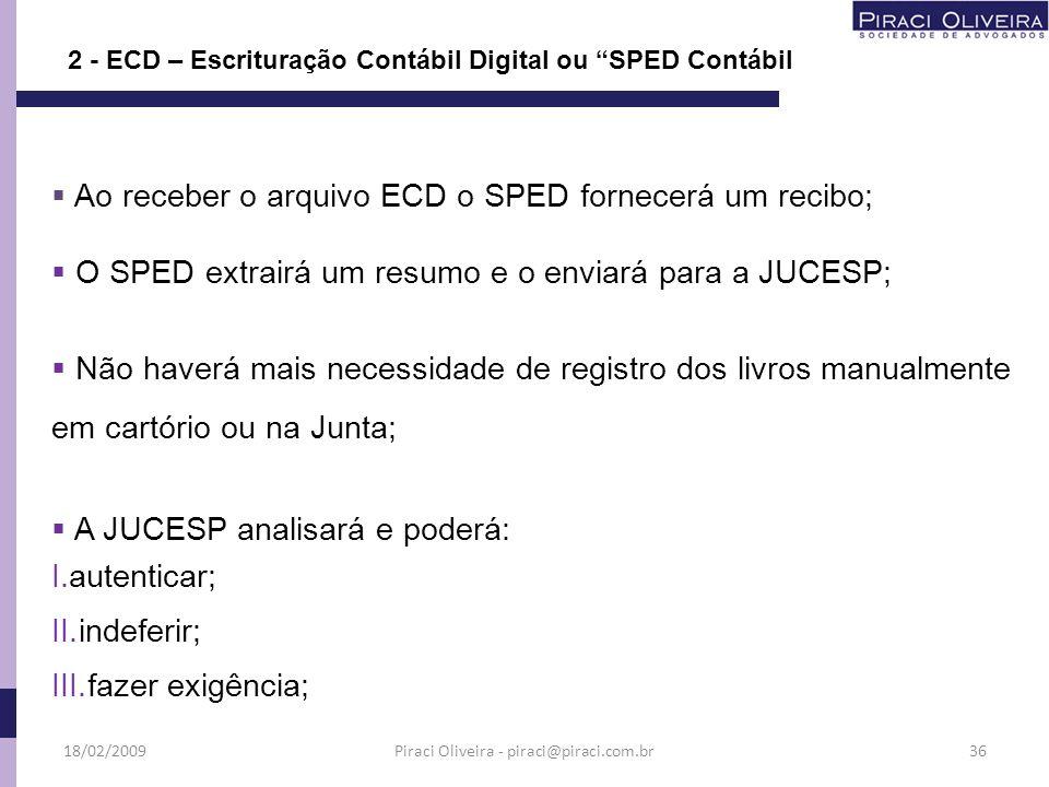 Ao receber o arquivo ECD o SPED fornecerá um recibo; O SPED extrairá um resumo e o enviará para a JUCESP; Não haverá mais necessidade de registro dos