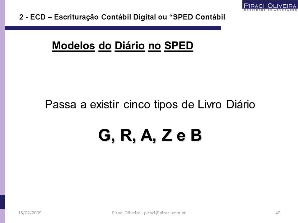 Passa a existir cinco tipos de Livro Diário G, R, A, Z e B Modelos do Diário no SPED 18/02/200940 2 - ECD – Escrituração Contábil Digital ou SPED Cont