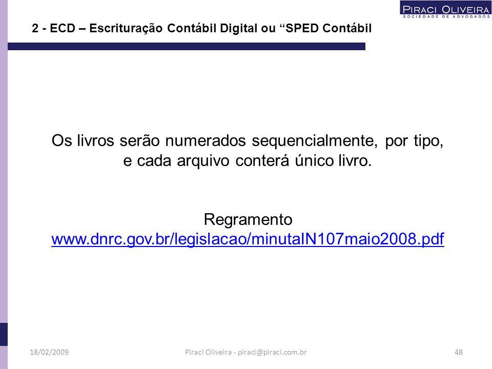 Os livros serão numerados sequencialmente, por tipo, e cada arquivo conterá único livro. Regramento www.dnrc.gov.br/legislacao/minutaIN107maio2008.pdf