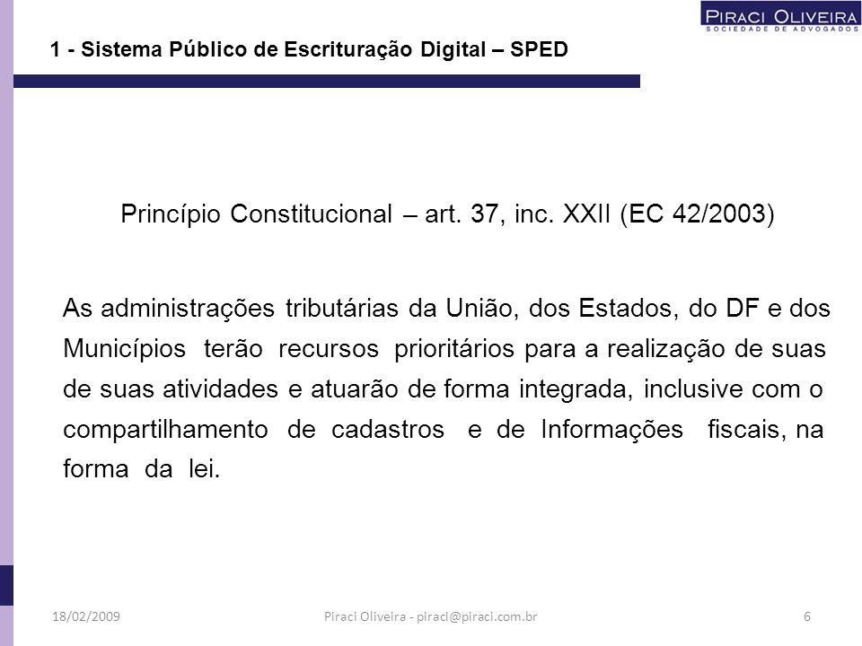 1 - Sistema Público de Escrituração Digital – SPED Princípio Constitucional – art. 37, inc. XXII (EC 42/2003) As administrações tributárias da União,