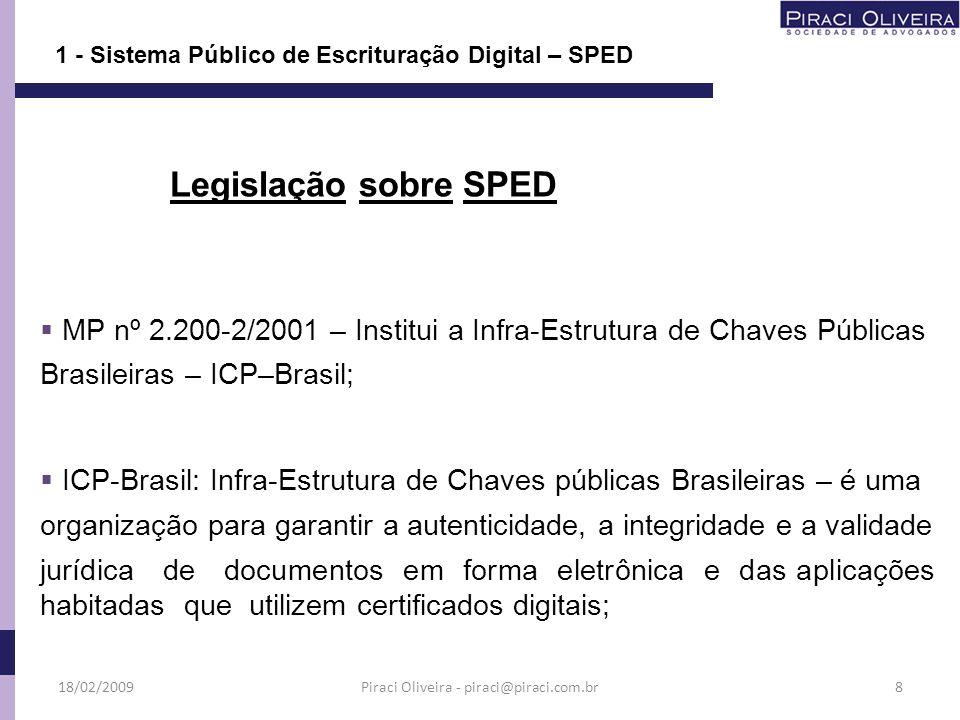 A administração do SPED caberá à RFB que deverá viabilizar sua implantação estabelecendo a política de armazenamento e segurança das informações digitais; 1 - Sistema Público de Escrituração Digital – SPED 18/02/200919Piraci Oliveira - piraci@piraci.com.br