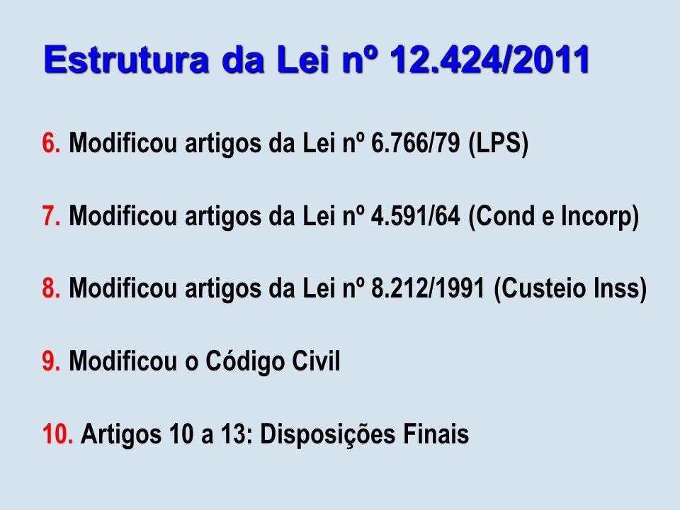 Estrutura da Lei nº 12.424/2011 6.Modificou artigos da Lei nº 6.766/79 (LPS) 7.Modificou artigos da Lei nº 4.591/64 (Cond e Incorp) 8.Modificou artigos da Lei nº 8.212/1991 (Custeio Inss) 9.Modificou o Código Civil 10.