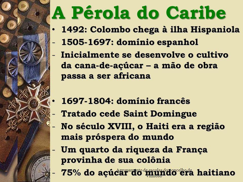 A Pérola do Caribe 1492: Colombo chega à ilha Hispaniola 1492: Colombo chega à ilha Hispaniola - 1505-1697: domínio espanhol - Inicialmente se desenvo