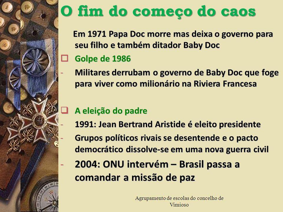 Em 1971 Papa Doc morre mas deixa o governo para seu filho e também ditador Baby Doc Em 1971 Papa Doc morre mas deixa o governo para seu filho e também